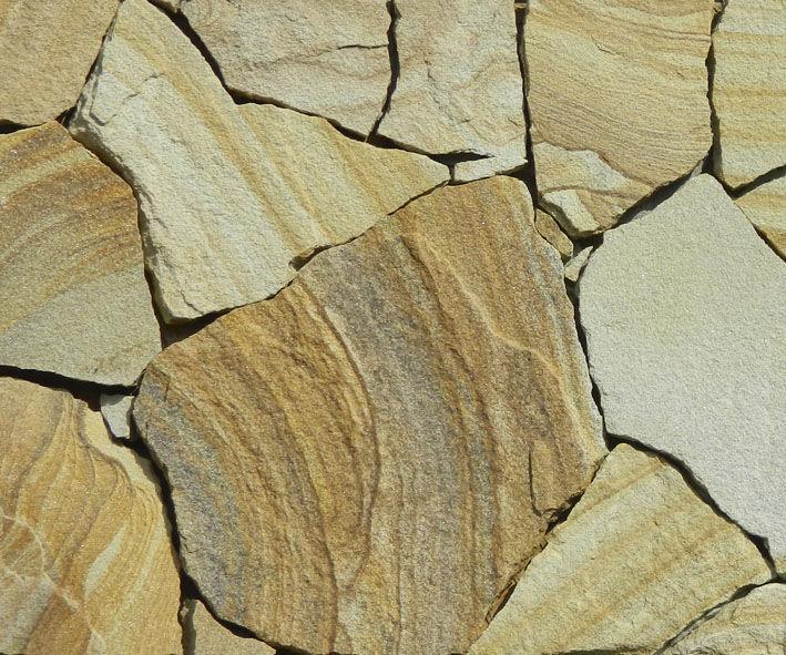 Дикий камень песчаник желто-коричневый с рисунком толщ 5см (1м2)