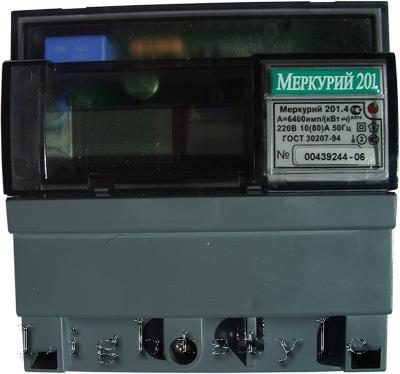Счетчик электроэнергии Меркурий 201.4 (10-80А) 220В однотарифный ЖКИ дисплей