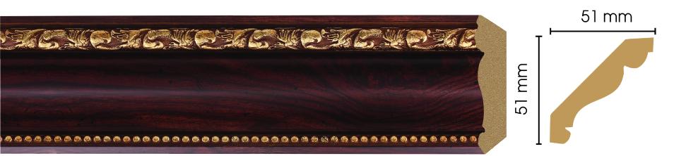 Потолочный плинтус (карниз) Decomaster 155-1084 (размер 51х51х2400)
