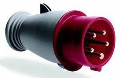 Переносная электрическая вилка 32А 3П 380В IP44 ИЭК 5 штырьков