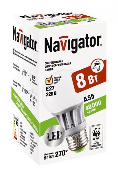 Лампа светодиодная Navigator A55-8-230-2.7k-E27 (теплый свет ,8Вт, 230В)