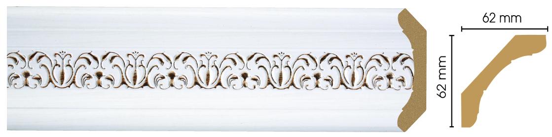 Потолочный плинтус (карниз) Decomaster 168-118 (размер 62х62х2400)