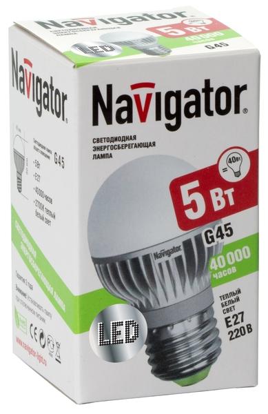 Лампа светодиодная  Navigator NLL-G45-5-230-4k-E27  (холодный свет, 5 Вт, 230В)