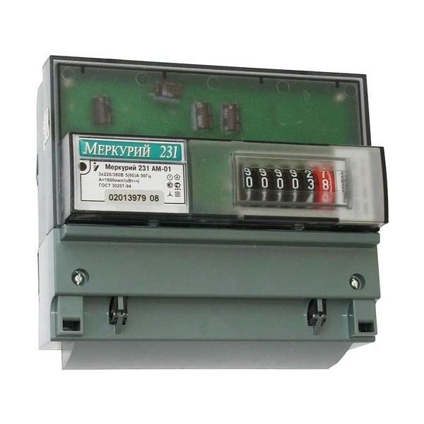 Счетчик электроэнергии Меркурий-231 АМ01 5-60А/380В однотарифный (на дин рейку)