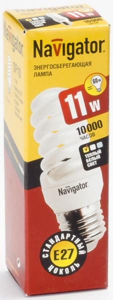 Лампа э/сб Navigator NСL-SF10-11-827-E27 теплый (11Вт)