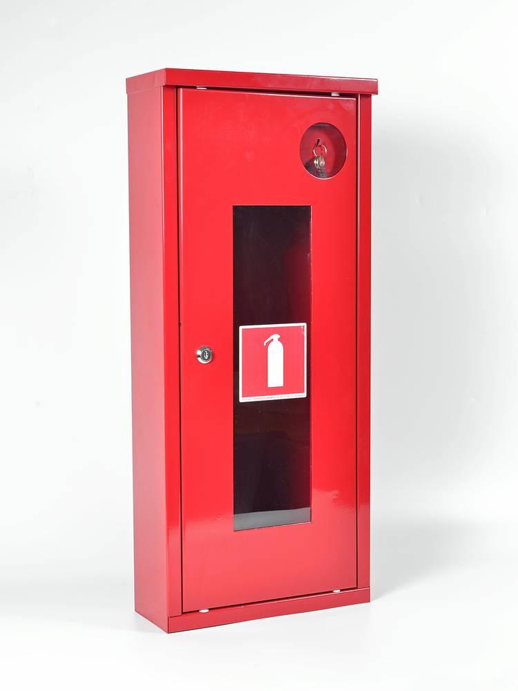 Шкаф для огнетушителя ШПО-107УОК угловой открытый красный