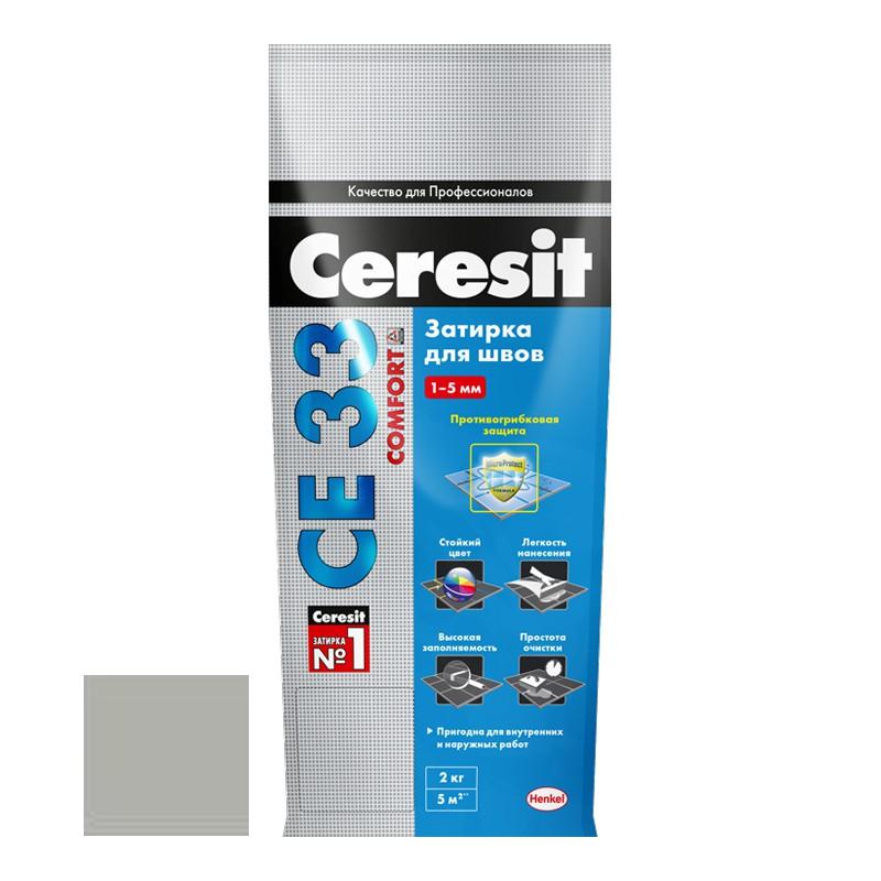 Затирка для узких швов Ceresit СЕ33 Comfort серебристо-серая 2 кг