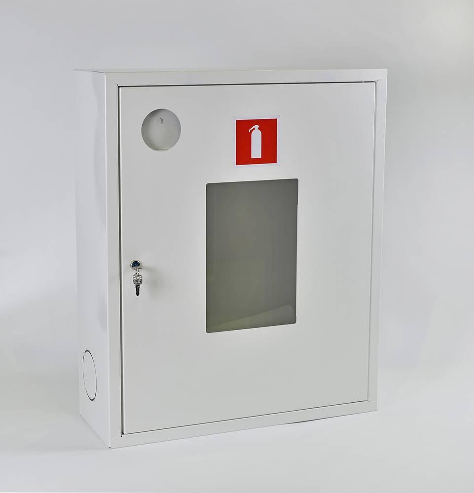 Шкаф для огнетушителя ШПО-113НОБ навесной открытый белый