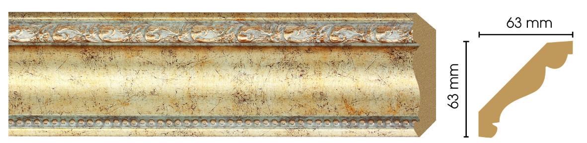 Потолочный плинтус (карниз) Decomaster  146-553 (размер 63х63х2400)