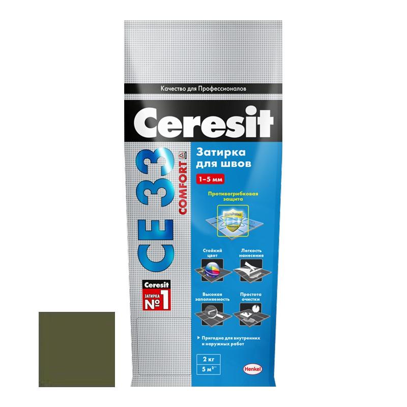 Затирка для узких швов Ceresit СЕ33 Comfort Оливковая 2 кг