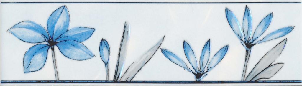 Бордюр Валентино Цветы голубой 20х5,7