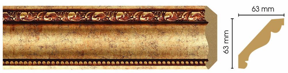 Потолочный плинтус (карниз) Decomaster 146-552 (размер 63х63х2400)