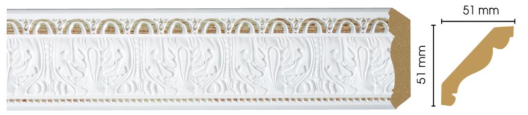 Потолочный плинтус (карниз) Decomaster 155-115 (размер 51х51х2400)