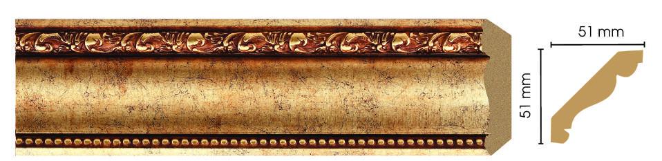 Потолочный плинтус (карниз) Decomaster 155-552 (размер 51х51х2400)