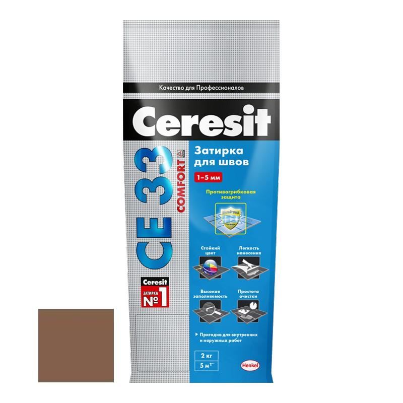 Затирка для узких швов Ceresit СЕ33 Comfort светло-коричневая 2 кг
