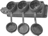 Колодка на 3 розетки 16А 2П каучук IP44 Т-Пласт