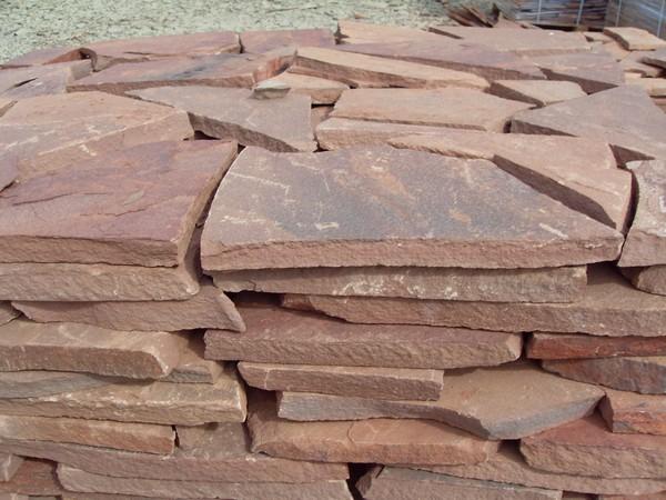 Дикий камень песчаник красный терракот толщ1,5см (1м2)