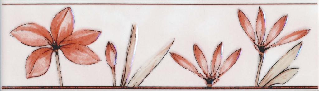 Бордюр Валентино Цветы розовый 20х5,7
