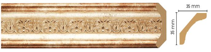 Потолочный плинтус (карниз) Decomaster 167S-127 (размер 35х35х2400)