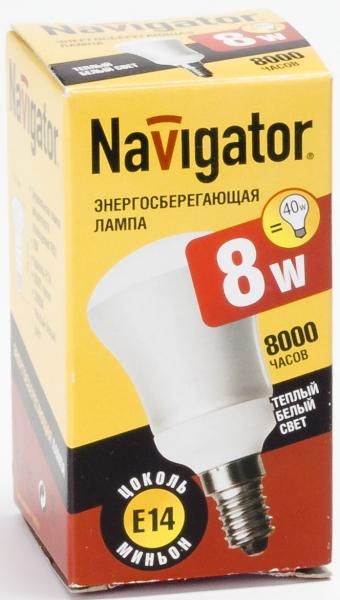 Лампа э/сб Navigator NСL-R50-08-830-E14  теплый (8Вт)