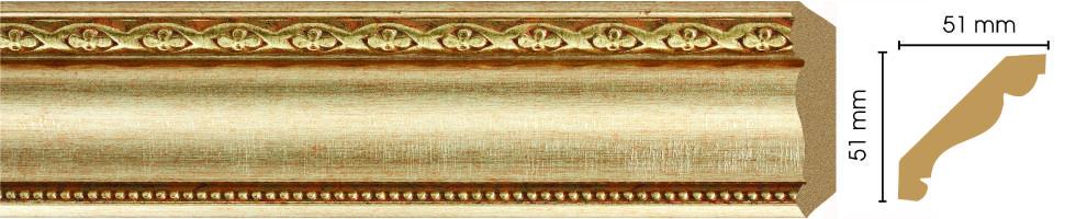 Потолочный плинтус (карниз) Decomaster 155-933 (размер 51х51х2400)