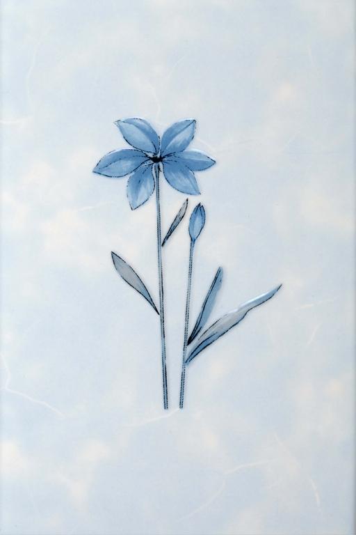 Декор Валентино Цветы голубой 20х30