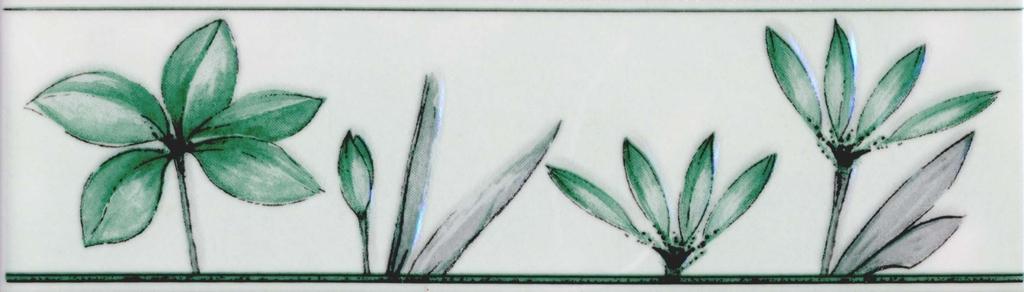 Бордюр Валентино Цветы зеленый 20х5,7