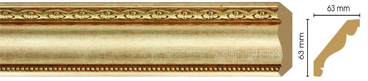 Потолочный плинтус (карниз) Decomaster  146-933 (размер 63х63х2400)