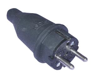 Вилка кабельная 16А 2П каучук IP44
