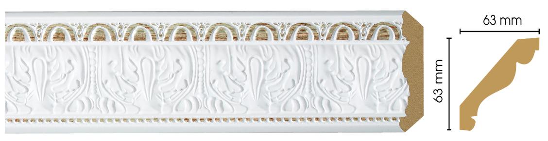 Потолочный плинтус (карниз) Decomaster 146-115 (размер 63х63х2400)