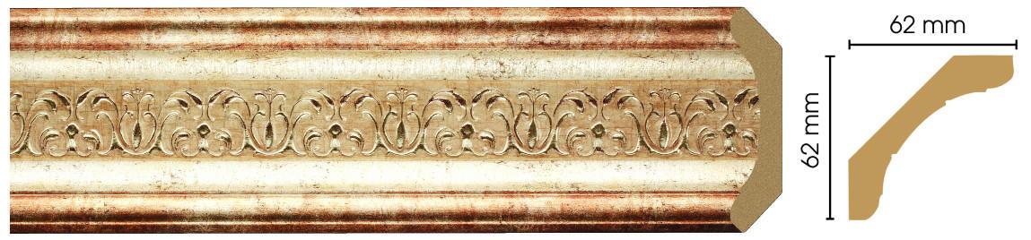 Потолочный плинтус (карниз) Decomaster 168-127 (размер 62х62х24000