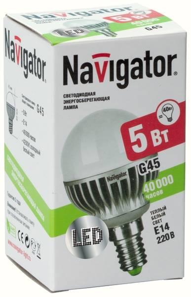 Лампа светодиодная Navigator NLL-G45-5-230-2.7k-E14 (теплый свет, 5 Вт, 230В)