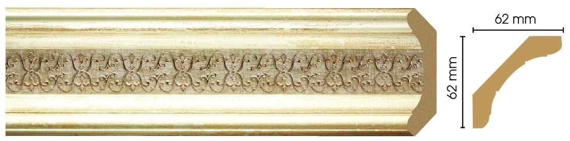Потолочный плинтус (карниз) Decomaster 168-281 (размер 62х62х2400)