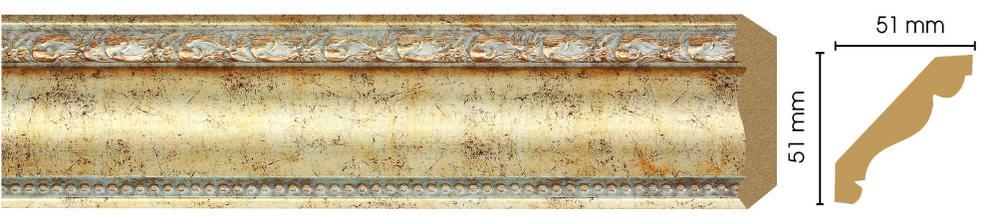Потолочный плинтус (карниз) Decomaster 155-553 (размер 51х51х2400)