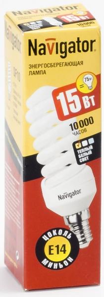 Лампа э/сб Navigator NСL-SF10-15-827-E14 теплый (15Вт)
