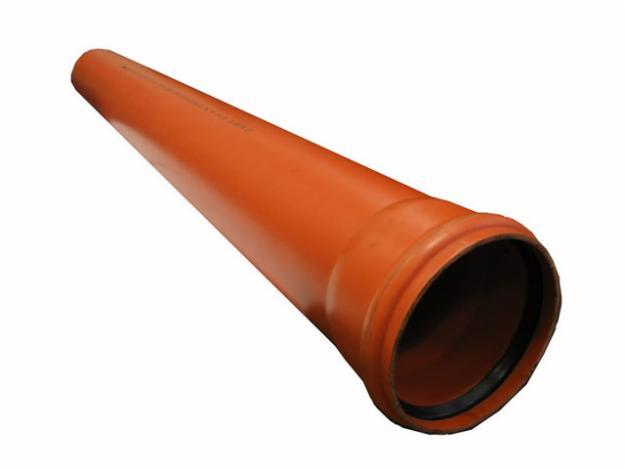 Труба с раструбом ПВХ d=200 мм L=1000 мм (для наружной канализации)