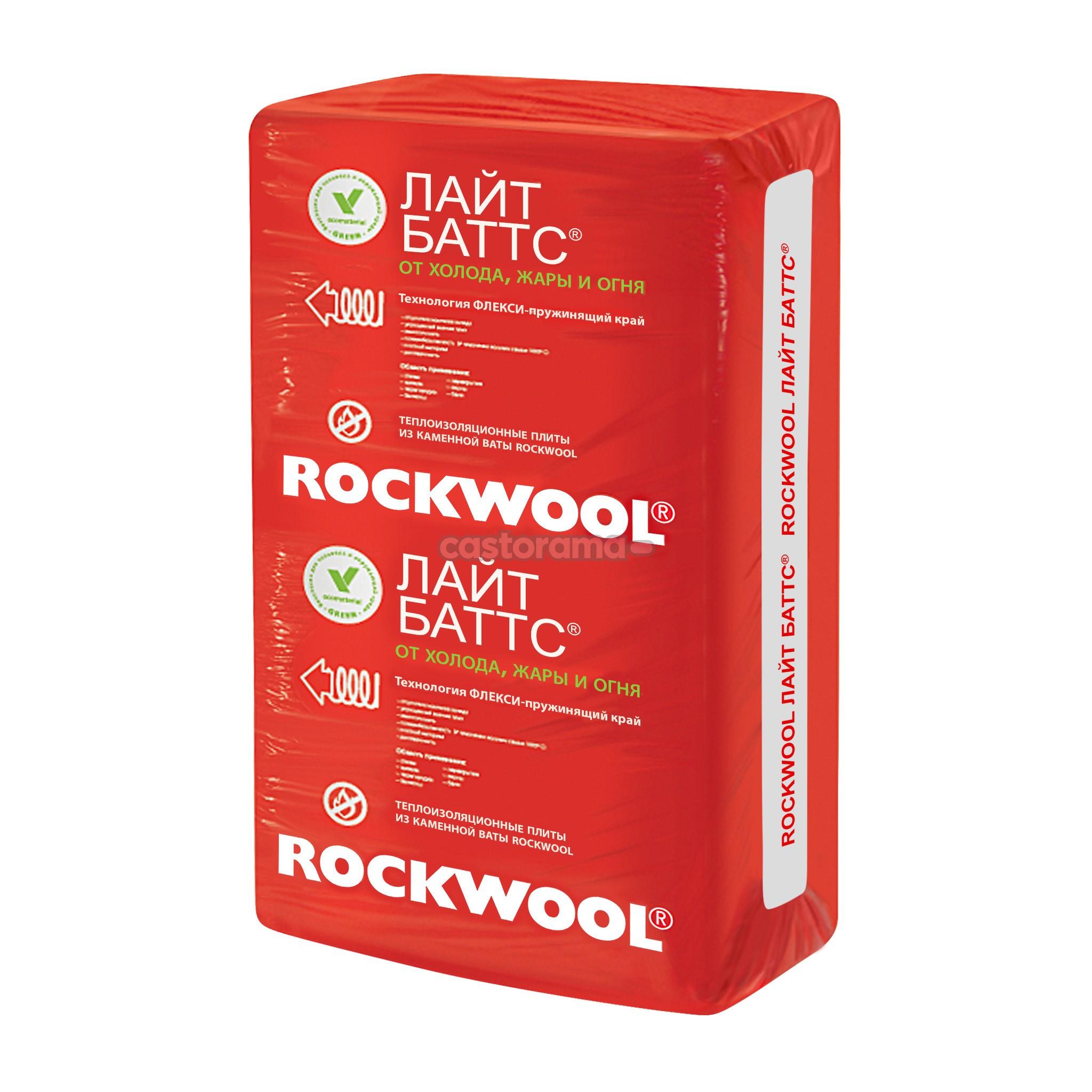 Утеплитель Роквул (Rockwool) Лайт Баттс 2.4м2 (0.24м3) толщ. 100мм