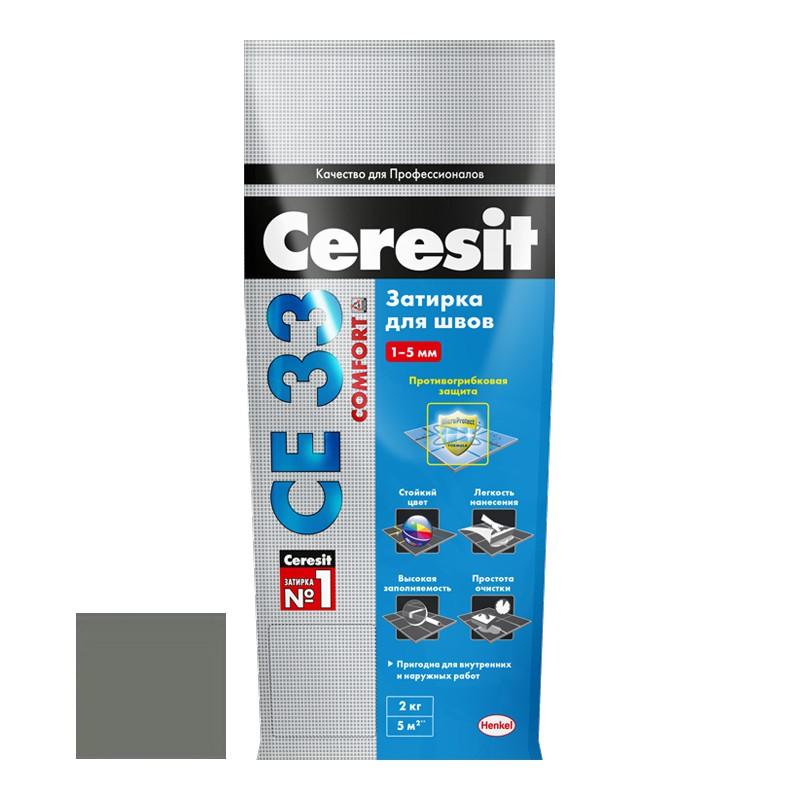Затирка для узких швов Ceresit СЕ33 Comfort Super Антрацит 2 кг