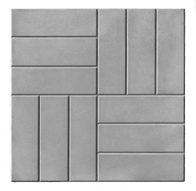 Тротуарная плитка 12 кирпичей серый