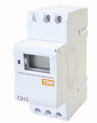 TDM Таймер электронный на din-рейку ТЭ15-1мин/7дн-16on/off-16А-DIN