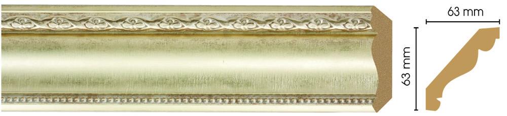 Потолочный плинтус (карниз) Decomaster 146-937 (размер 63х63х2400)