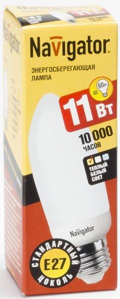 Лампа э/сб Navigator NСL-C35-11-827-E27  теплый (11Вт)