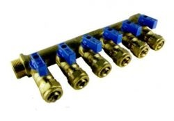 Коллектор с кранами латунь 6 выходов (синий) 3/4-16ц.