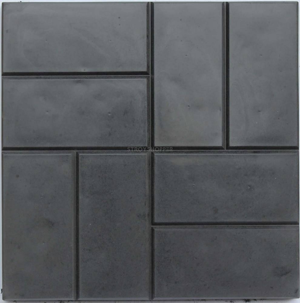 Тротуарная плитка 12 кирпичей черный